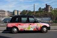 2011 Ubiquitous taxi advertising campaign for Foodies Festival  - Foodies Festival Holyrood Park