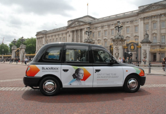 2013 Ubiquitous taxi advertising campaign for Blackrock  - Isn't It Time To Be An Investor Again?