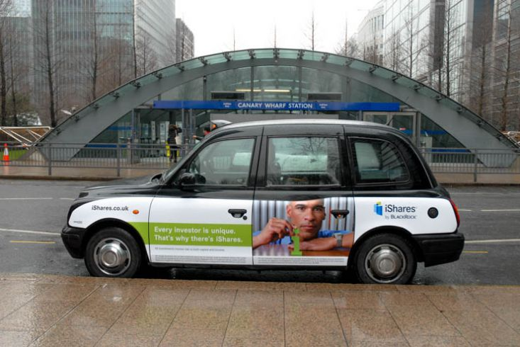2013 Ubiquitous taxi advertising campaign for Blackrock  - iShares
