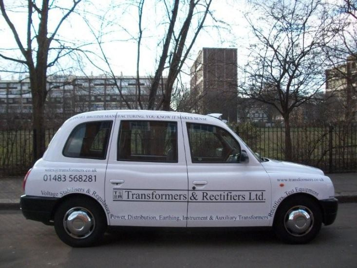 2010 Ubiquitous taxi advertising campaign for Transformers & Rectifiers  - Support British manufacturing, you know it makes sense