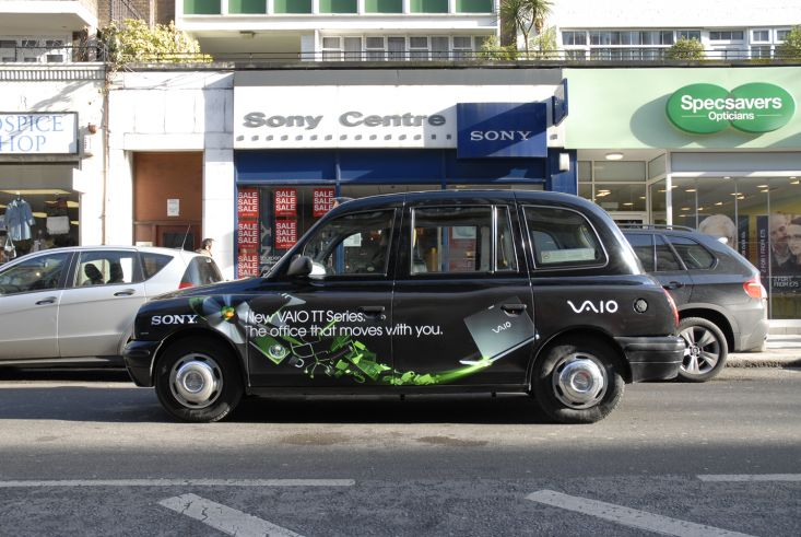 2009 Ubiquitous taxi advertising campaign for Sony Vaio - New Sony Vaio TT. The office that moves without you.
