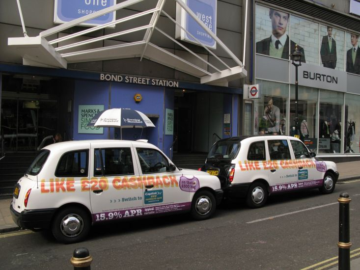 2007 Ubiquitous taxi advertising campaign for Capital One Bank - Like £20 cashback