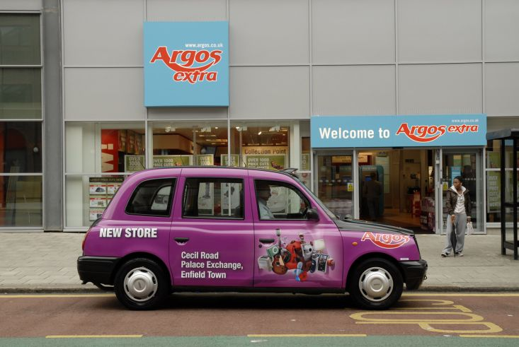 2008 Ubiquitous taxi advertising campaign for Argos - Store Openings