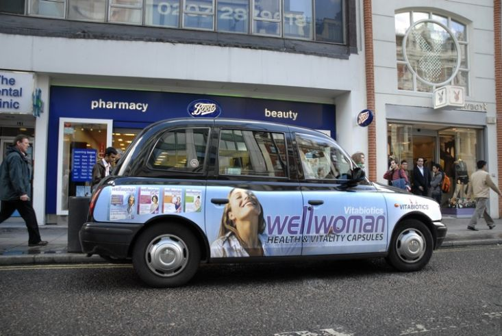 2009 Ubiquitous taxi advertising campaign for Vitabiotics - Health & Vitality capsules