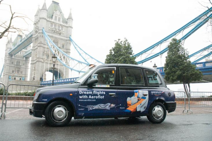 2013 Ubiquitous taxi advertising campaign for Aeroflot - Dream Flights with Aeroflot