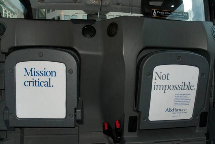 2011 Ubiquitous taxi advertising campaign for AlixPartners  - Mission-Critical. Not Impossible