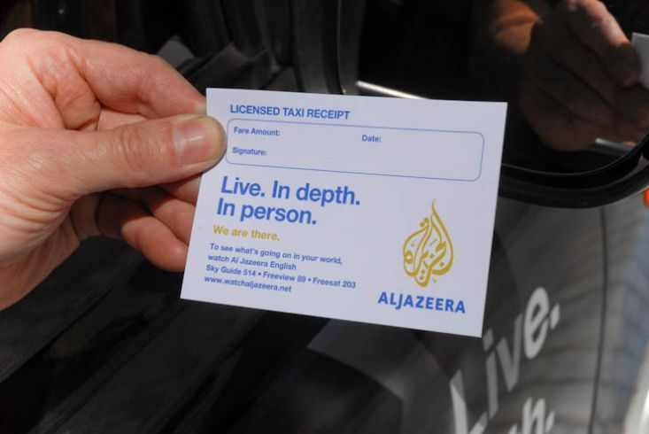 2011 Ubiquitous taxi advertising campaign for Aljazeera - Libya-Live. In Depth. In Person.