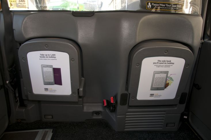 2012 Ubiquitous taxi advertising campaign for Amazon Kindle - The Only Book You'll Need On Holiday