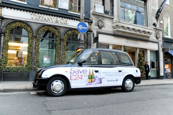 2010 Ubiquitous taxi advertising campaign for BAA - Heathrow Christmas Shopping; The West End For Less