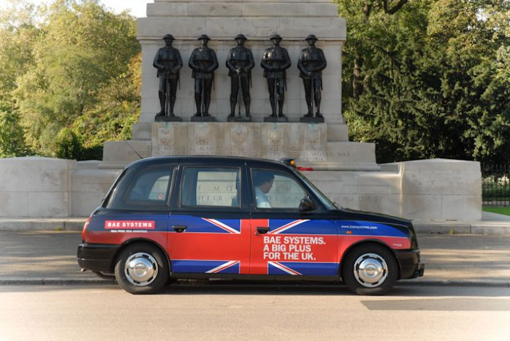 2008 Ubiquitous taxi advertising campaign for BAE - BAE Systems. A Big Plus For The UK
