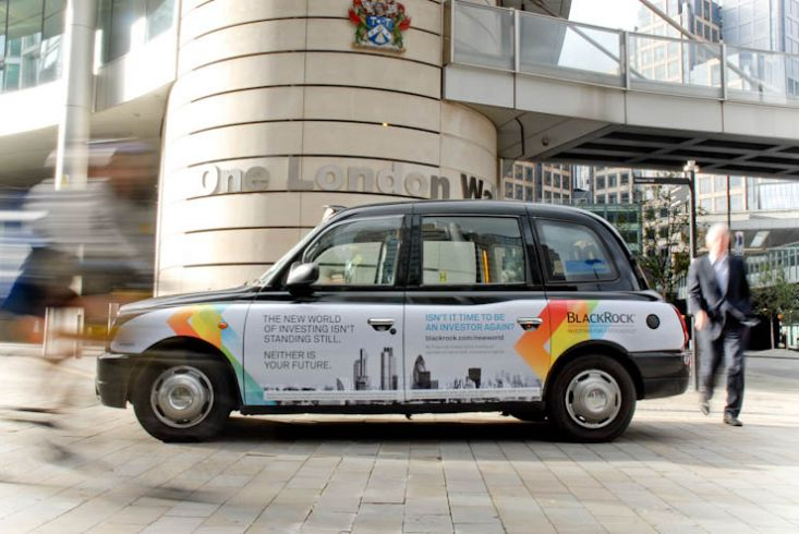 2012 Ubiquitous taxi advertising campaign for Blackrock  - The new world of investing isn't standing still
