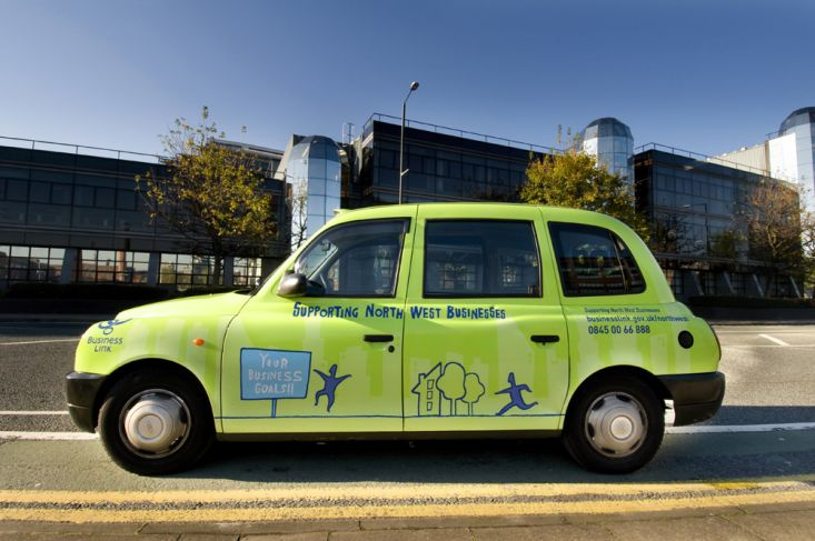2009 Ubiquitous taxi advertising campaign for Business Link - Supporting North West Businesses
