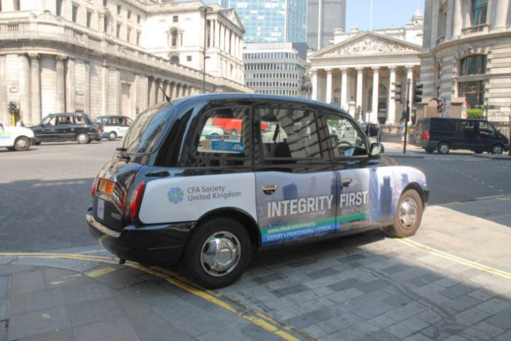 2013 Ubiquitous taxi advertising campaign for Chartered Financial Analysts Institute  - Integrity First