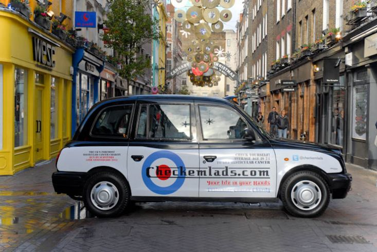2012 Ubiquitous taxi advertising campaign for Check em Lads - Your life in your hands