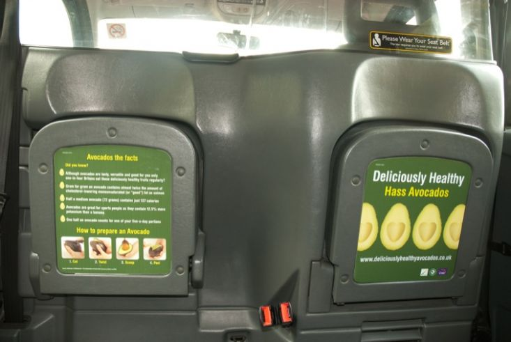 2009 Ubiquitous taxi advertising campaign for Chilean Hass Avocados - Deliciously Healthy Hass Avocados