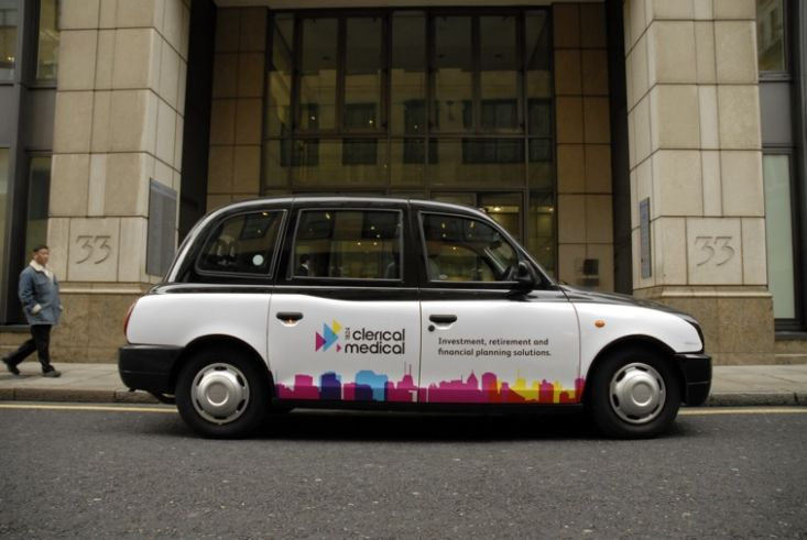 2008 Ubiquitous taxi advertising campaign for Clerical Medical - Investment, retirement and financial planning solutions