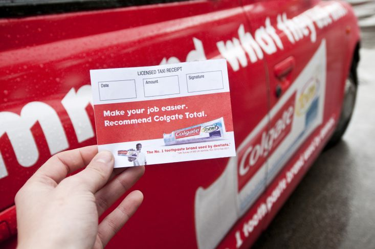 2011 Ubiquitous taxi advertising campaign for Colgate - Use the toothpaste most UK dentists use