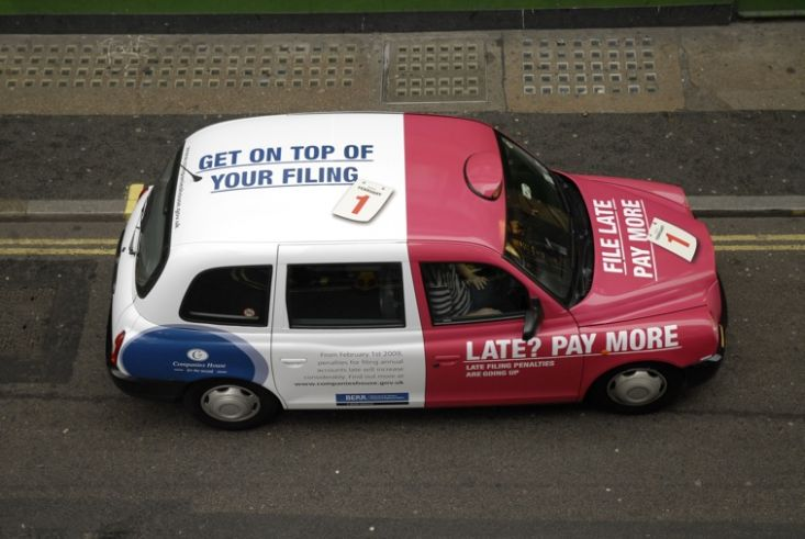 2008 Ubiquitous taxi advertising campaign for Companies House - Late? pay more