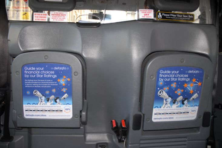 2012 Ubiquitous taxi advertising campaign for Defaqto  - Guide Your Financial Choices By Our Star Ratings