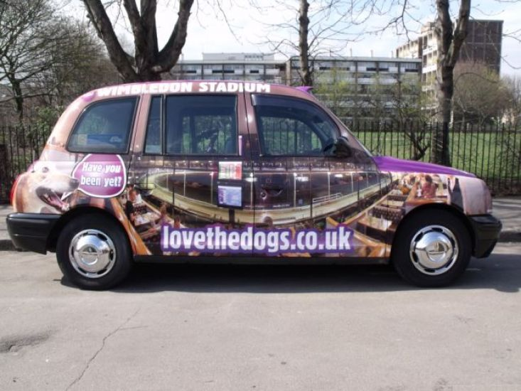 2011 Ubiquitous taxi advertising campaign for Wimbledon Greyhound Stadium - lovethedogs.co.uk