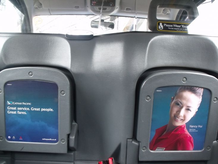 2010 Ubiquitous taxi advertising campaign for Cathay Pacific - Great service. Great people. Great fares.