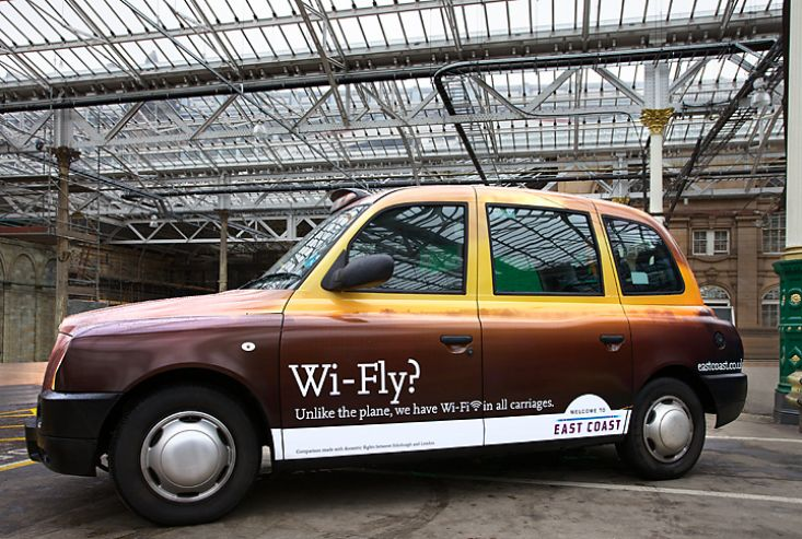 2012 Ubiquitous taxi advertising campaign for East Coast Mainline - Wi-Fly?