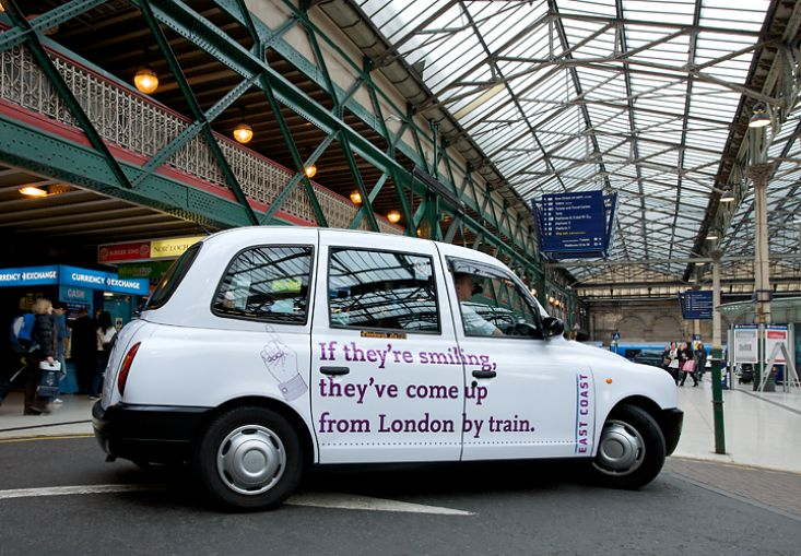 2010 Ubiquitous taxi advertising campaign for East Coast Mainline - East Coast Mainline