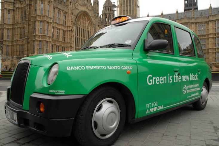 2011 Ubiquitous taxi advertising campaign for Espirito Santo - Green is the new black