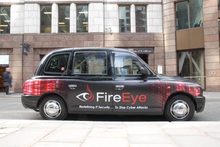 2013 Ubiquitous taxi advertising campaign for FireEye - Redefining IT Security...to stop cyber attacks