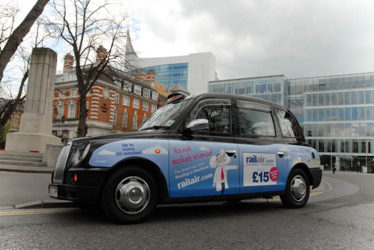 2011 Ubiquitous taxi advertising campaign for First Bus - Reading - The Direct Way From Reading To Heathrow