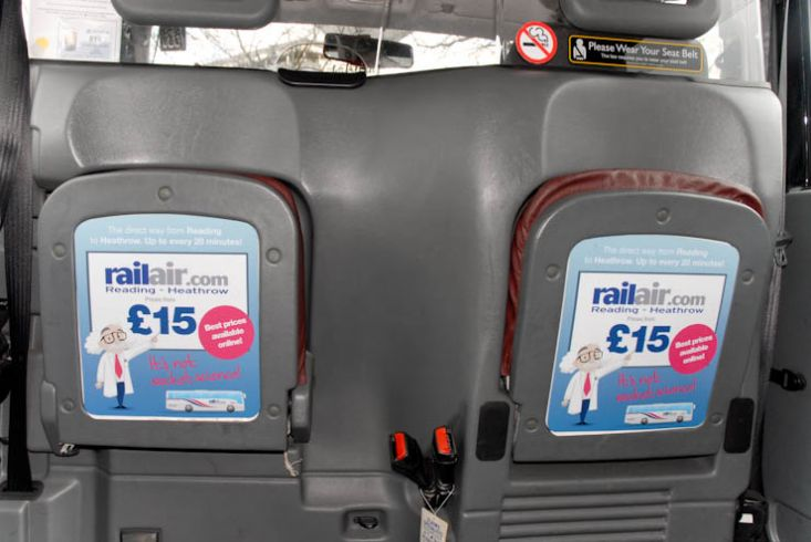 2012 Ubiquitous taxi advertising campaign for Rail Air - The Direct Way From Reading To Heathrow