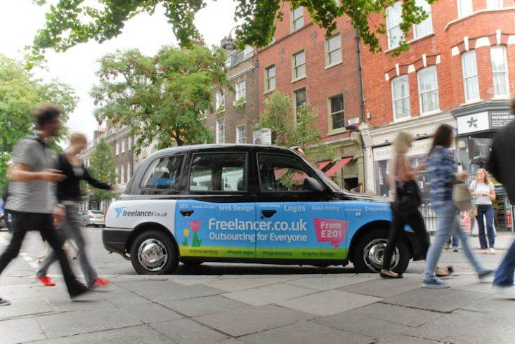 2011 Ubiquitous taxi advertising campaign for Freelancer.co.uk - Outsourcing for Everyone