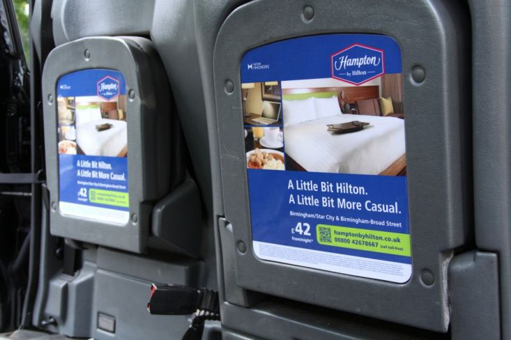 2012 Ubiquitous taxi advertising campaign for Hampton By Hilton - Satisfaction Guaranteed