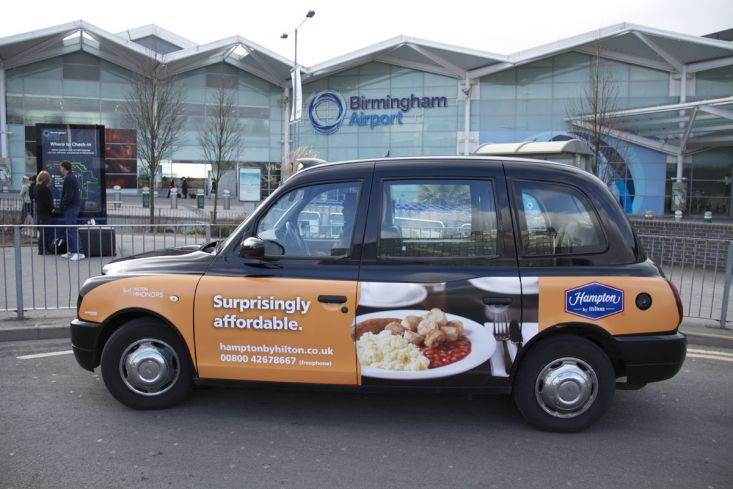 2013 Ubiquitous taxi advertising campaign for Hampton By Hilton - Surprisingly Affordable