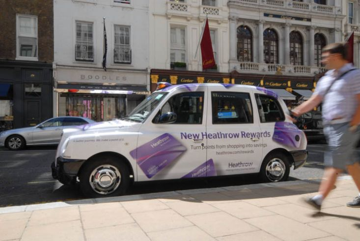 2013 Ubiquitous taxi advertising campaign for Heathrow Airport - New Heathrow Rewards