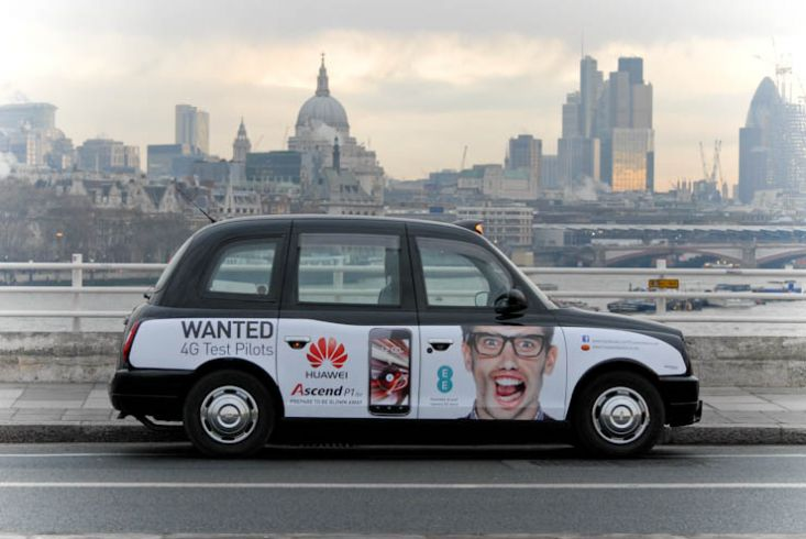 2012 Ubiquitous taxi advertising campaign for Huawei - 4G Test Pilots