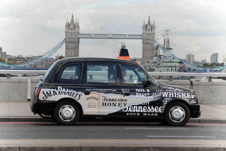 2012 Ubiquitous taxi advertising campaign for Jack Daniels  - Tennessee Honey