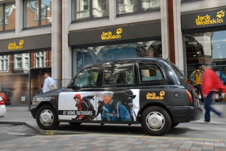 2011 Ubiquitous taxi advertising campaign for Jack Wolfskin - At Home Outdoors