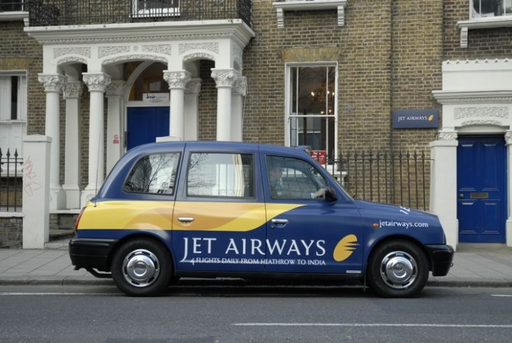 2007 Ubiquitous taxi advertising campaign for Jet Airways - 4 Flights Daily From Heathrow To India
