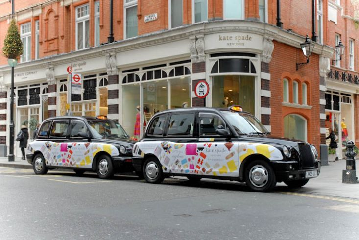 2012 Ubiquitous taxi advertising campaign for Kate Spade - Live Colorfully
