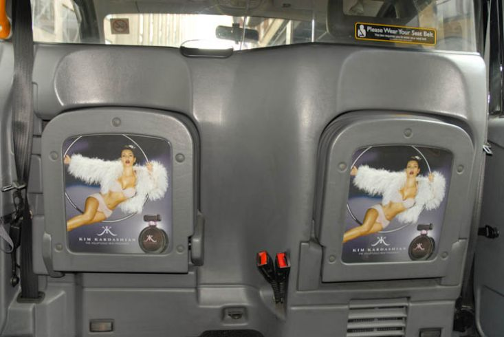 2011 Ubiquitous taxi advertising campaign for Kim Kardashian Fragrance - Kim Kardashian; The Voluptuous New Fragrance