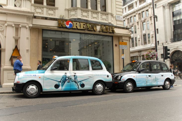 2010 Ubiquitous taxi advertising campaign for Korean Air - Experience Service On A Whole New Level