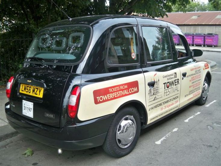 2009 Ubiquitous taxi advertising campaign for Tower Festival - The Tower Festival