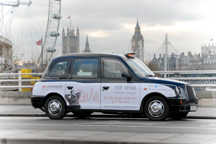 2012 Ubiquitous taxi advertising campaign for Logicalis - HP 3PAR
