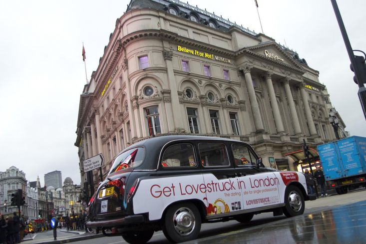 2012 Ubiquitous taxi advertising campaign for Lovestruck.com - Get Lovestruck in London