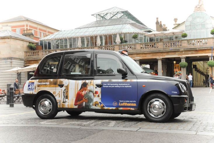 2011 Ubiquitous taxi advertising campaign for Lufthansa - Discoveries a product of Lufthansa