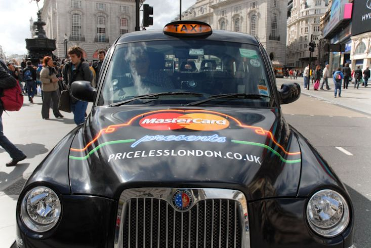 2012 Ubiquitous taxi advertising campaign for Mastercard - Priceless London