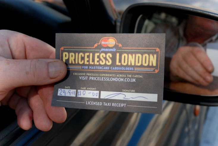 2011 Ubiquitous taxi advertising campaign for Mastercard - Mastercard Represents Priceless London