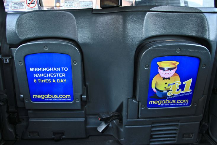 2012 Ubiquitous taxi advertising campaign for Megabus - Low cost inter city bus travel