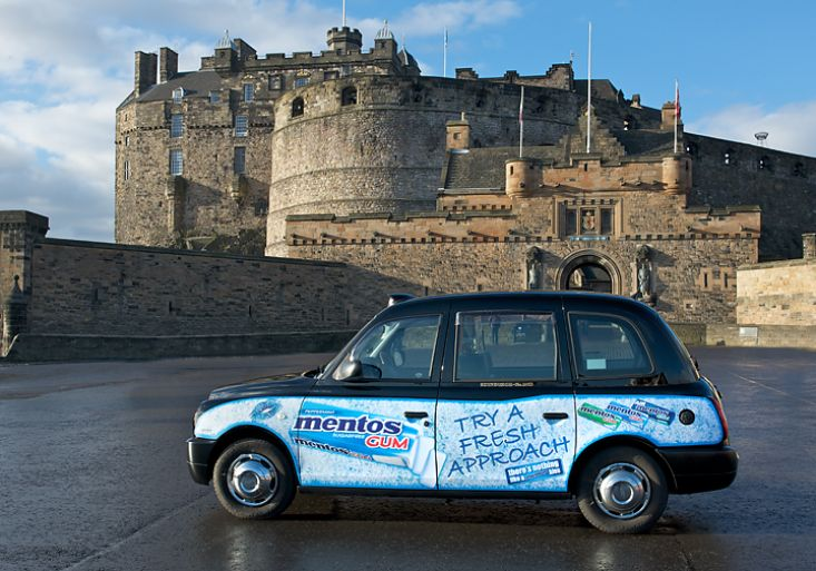 2010 Ubiquitous taxi advertising campaign for Mentos - Try A Fresh Approach